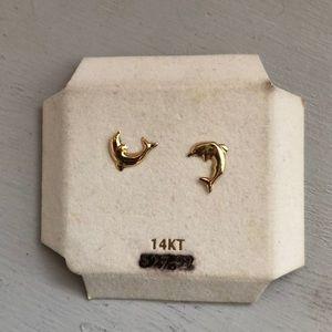 Dolphin 14KT gold earrings